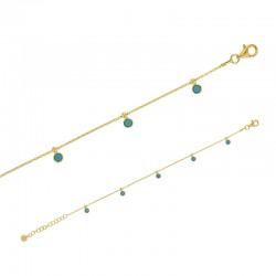 Bracelet LUNA en argent 925/1000 doré avec des cristaux bleu turquoise