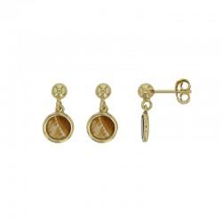 Boucles d'oreilles pendantes TERRE D'ORIENT en argent 925/1000 doré