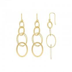 Boucles d'oreilles en argent 925/1000 doré ovales lisses et diamantés
