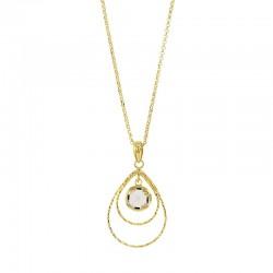 Collier diamanté en argent 925/1000 doré orné d'un cristal