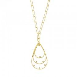 Collier diamanté à mailles larges en argent 925/1000 doré