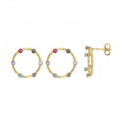 Boucles d'oreilles en argent 925/1000 doré serties de 5 cristaux multicolores