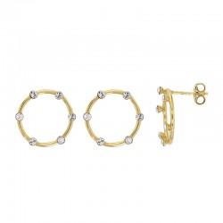 Boucles d'oreilles cercle en argent 925/1000 doré serti de 5 cristaux en argent