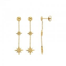 Boucles d'oreilles en argent 925/1000 doré avec motifs étoiles