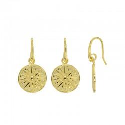 Boucles d'oreilles argent 925/1000 doré ornées de soleil