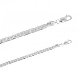 Bracelet maille forçat diamantée plate en argent 925/1000
