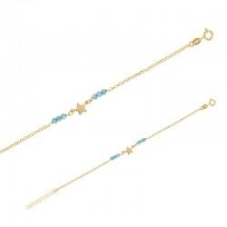 Bracelet argent 925/1000 doré avec étoile et pierres synthétiques turquoises