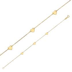 Bracelet en Or 18 carats orné de 3 cœurs
