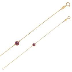 Bracelet Or 18 carats avec une fleur en émail rose