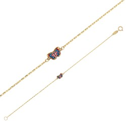 Bracelet Or 750/1000 orné d'un papillon coloré en émail
