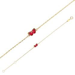 Bracelet Or 18 carats avec papillon rouge en émail