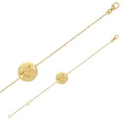 Bracelet Or 18 carats avec colombe sur une médaille ronde ornée d'un diamant