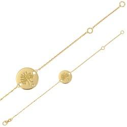 Bracelet en Or 18 carats avec arbre de vie sur médaillon rond orné d'un diamant