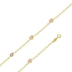 Bracelet en or 18 carats avec des cœurs roses
