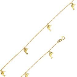 Bracelet or 18 carats avec des dauphins