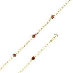 Bracelet avec des coccinelles rouge en Or 18 carats