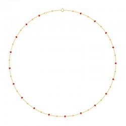 Collier Or 18 carats avec des perles rouge