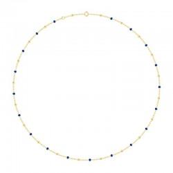 Collier Or 18 carats avec des perles bleue