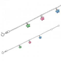 Bracelet en Argent avec Papillons Rose, Bleu et Vert
