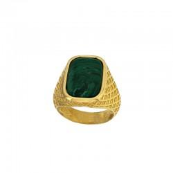 Bague chevalière NEO-BAROQUE argent 925/1000 doré avec pierre synthétique malachite.