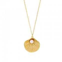 Collier coquillage en argent 925/1000 doré orné d'une perle synthétique