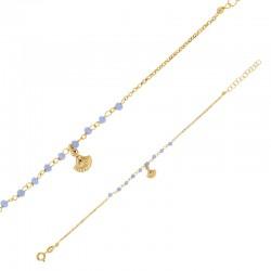 Bracelet en argent 925/1000 doré orné d'un coquillage et pierres synthétiques