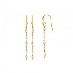 Boucles d'oreilles en argent 925/1000 doré ornés de perles.