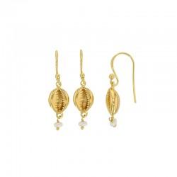 Boucles d'oreilles coquillages en argent 925/1000 doré avec perle de culture