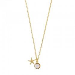 Collier en argent 925/1000 doré orné d'une étoile de mer et d'une pierre synthétique