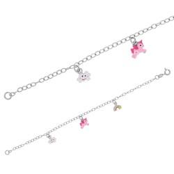 Bracelet Argent Pendentifs Nuage, Licorne et Arc-en-ciel