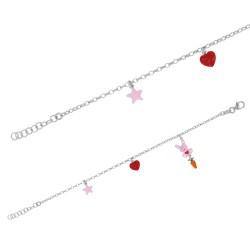 Bracelet en argent pendentifs étoile, cœur et lapin avec une carotte.