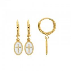 Créoles en plaqué or pendant ovale perlé croix émail blanc.