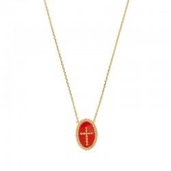 Collier en plaqué or pendant ovale perlé croix émail rouge.
