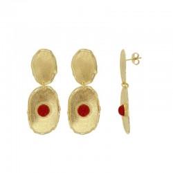 Boucles d'oreilles ANTIC argent 925/1000 doré brossé, perle synthétique imitation corail