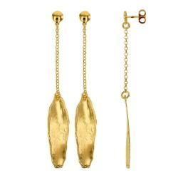 Boucles d'oreilles ANTIC forme allongée argent 925/1000 doré
