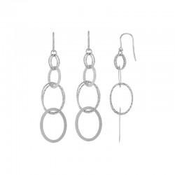 Boucles d'oreilles pendantes ovales lisses et diamantés en argent 925/1000 rhodié