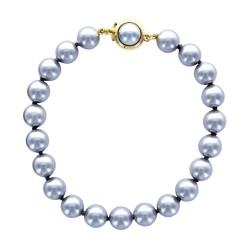 """Bracelet """"Perles de Majorque"""" grises ø 8 mm avec fermoir rond plaqué or"""