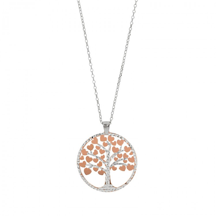Collier en argent 925/1000, pendentif arbre de vie