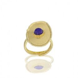 Bague réglable ANTIC argent 925/1000 doré brossé, pierre synthétique imitation Lapis-lazuli