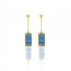 Boucles d'oreilles argent 925/1000 doré ornées de turquoises rectangulaires