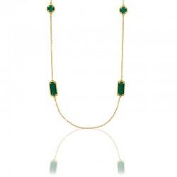 Collier sautoir avec perle cristal vert émeraude et argent 925 doré
