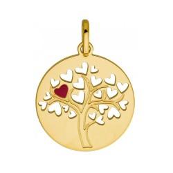 Médaillon arbre de vie cœurs or 9 carats, diamètre 16mm