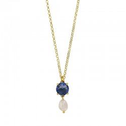 Collier perlé avec une pierre couleur saphir en argent 925/1000 doré
