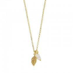 Collier motif feuille perlé avec une pierre synthétique en argent 925/1000 doré