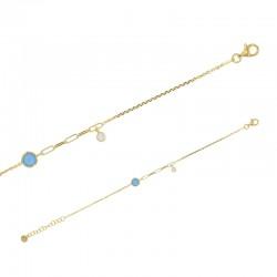 Bracelet perlé avec deux pierres synthétique turquoise et blanc en argent 925/1000 doré