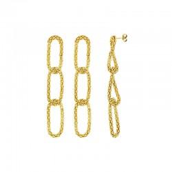 Boucles d'oreilles avec des mailles perlées en argent 925/1000 doré