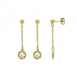 Boucles d'oreilles MADRE PERLA en argent 925/1000 doré avec un motif rond en nacre