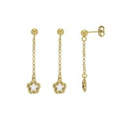 Boucles d'oreilles MADRE PERLA en argent 925/1000 doré avec un nacre en forme de fleur